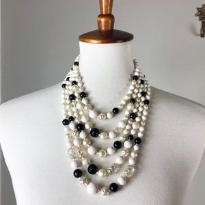 Vintage 5 Strand Black and White Beaded Necklace